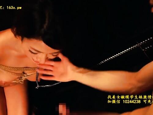 超乳ショートカット黒ギャルの緊縛イラマ拘束イラマチオ
